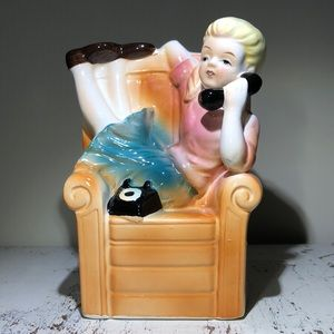 Vintage kitsch Girl on Phone Planter/Vase